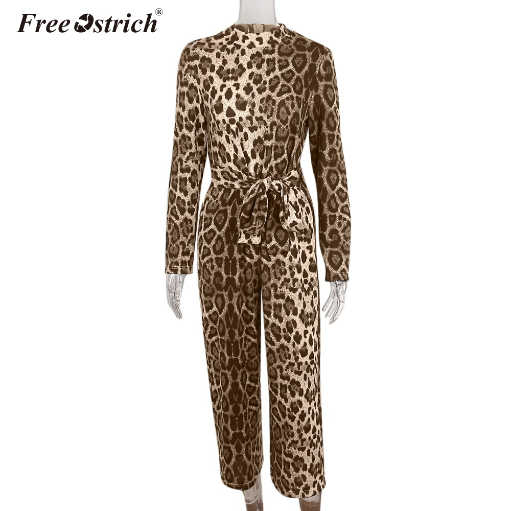 Free Ostrich Multicolor Elegant Party Leopard Print O Neck Long Sleeve Maxi Jumpsuit 2018 Autumn Women Sexy Jumpsuits N30