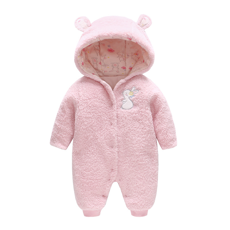 2018 Autumn and Winter New-style Romper Uniform Baby Clothes New-born Baby Pink Rabbit Plug Cotton Warm Clothing Wholesale2018 Autumn and Winter New-style Romper Uniform Baby Clothes New-born Baby Pink Rabbit Plug Cotton Warm Clothing Wholesale