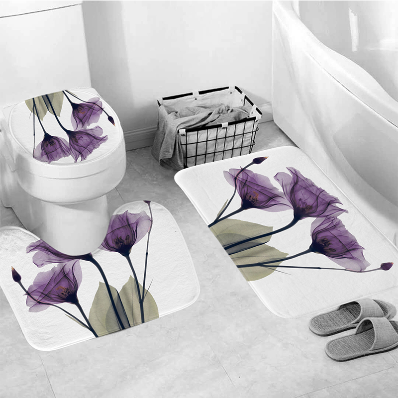 LANGRIA 4pcs Flower Print Bathroom Shower Curtain Set With Flannel Fabric For Bathroom And Toilet Windows 2