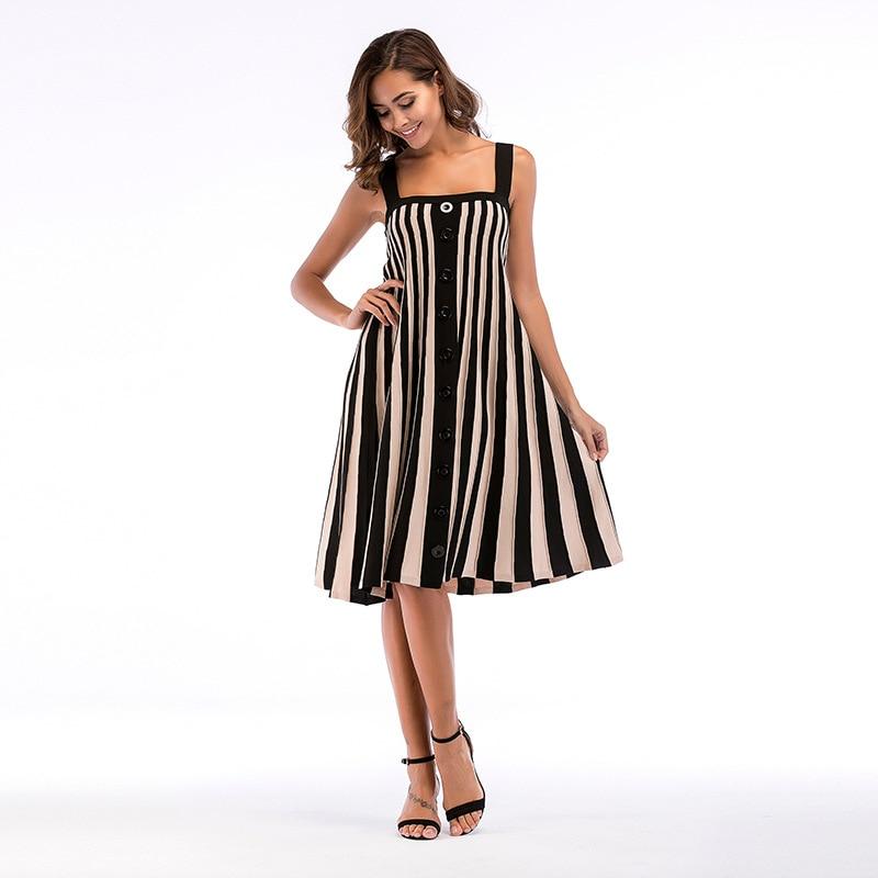 Vestiti Eleganti 2018.Sexy Sling Slim Dress 2018 Vestiti Donna Buttoned Striped Vestiti