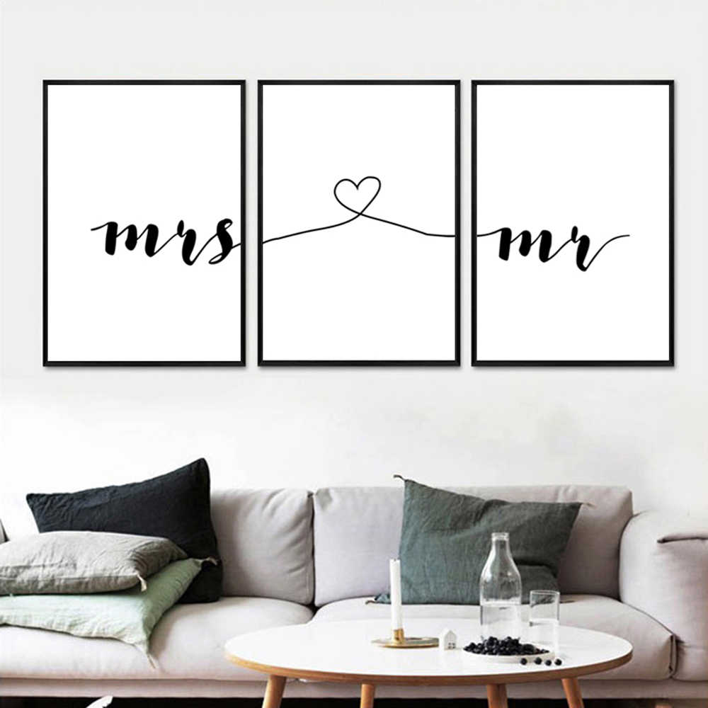 Mr Mrs Family Simple Quotes Canvas Wall Art Poster Prints Minimalist Couple Anniversary Painting Pictures for Living Room Decor