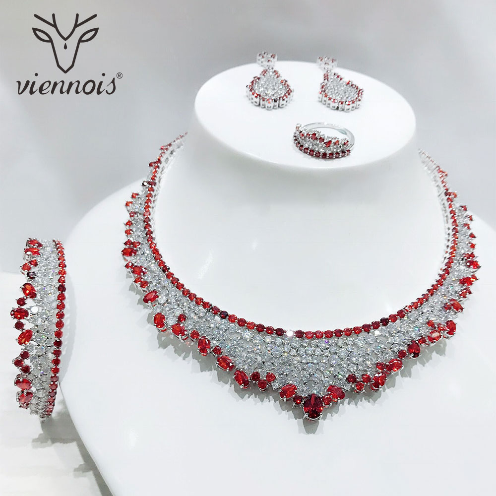 Viennois Stud Earrings Hollow Big Jewelry Set for Women Wedding Jewelry Sets New viennois hollow flowers jewelry sets rose gold color necklace earrings set for women wedding party