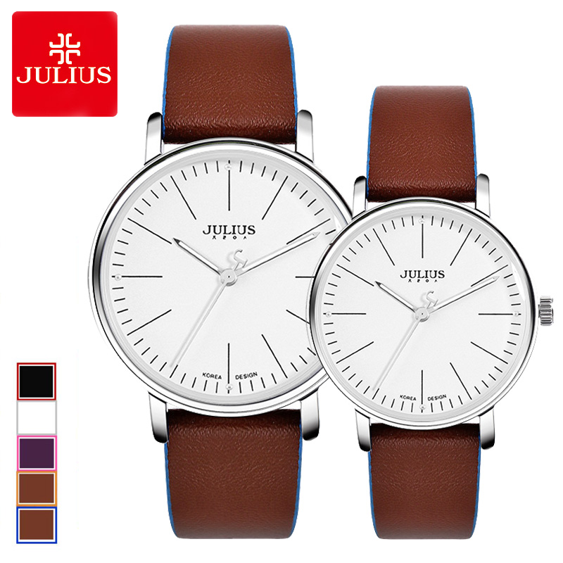Classic Women's Watch Men's Watch Clock MIYOTA Contrast Color Blocking Couple Fashion Hours Leather Simple Lovers' Gift Box