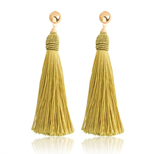 KLEEDER Long Cotton Disc Dangle Drop Tassle Earrings Tassel Bohemian Gold Leaves Fringe