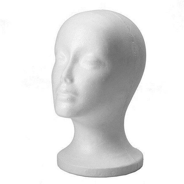 Isopor Espuma Manequim Manequim Cabeça Modelo feminino Chapéu Óculos Espuma Exibição Manequim Modelo de Cabeça Peruca Chapéu de Rack Carrinho de Exposição