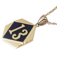 18k Gold Plated New Vintage Biker Lucky Number 13 Tag Pendant Necklace With 23 Chain Stainless