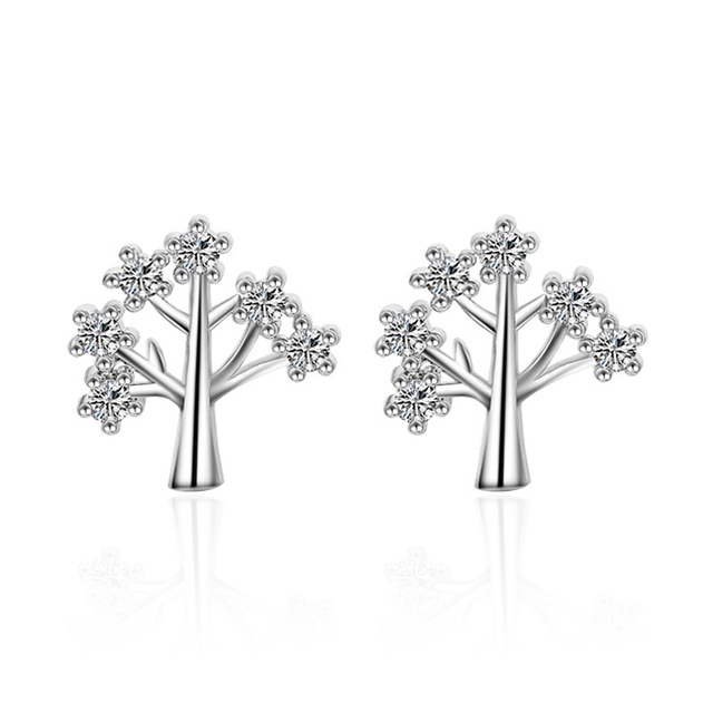 c7320a4a9 100% 925 sterling silver fashion shiny crystal Christmas tree ladies`stud  earrings jewelry gift no fade Anti allergy