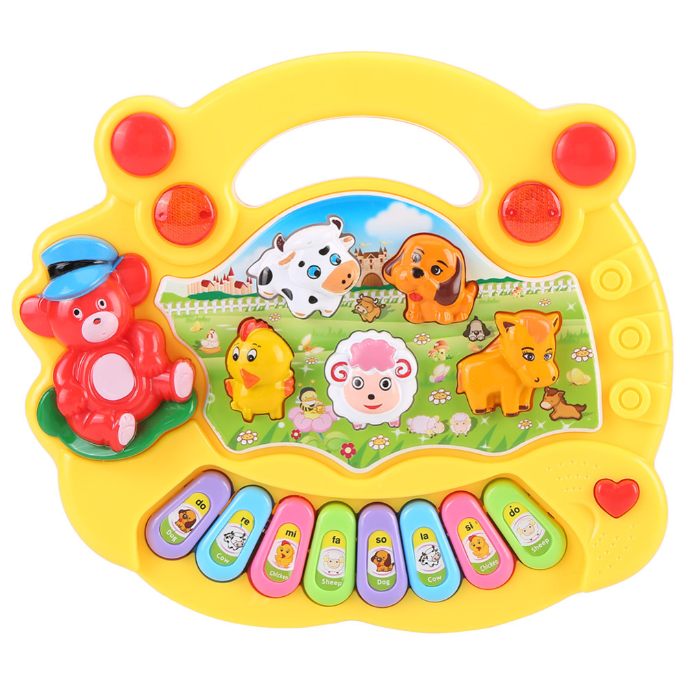 Baby Kids Musical Animal Farm Piano Toys Early Educational Toys For Children Gift 2 Colors Developmental Music Toy