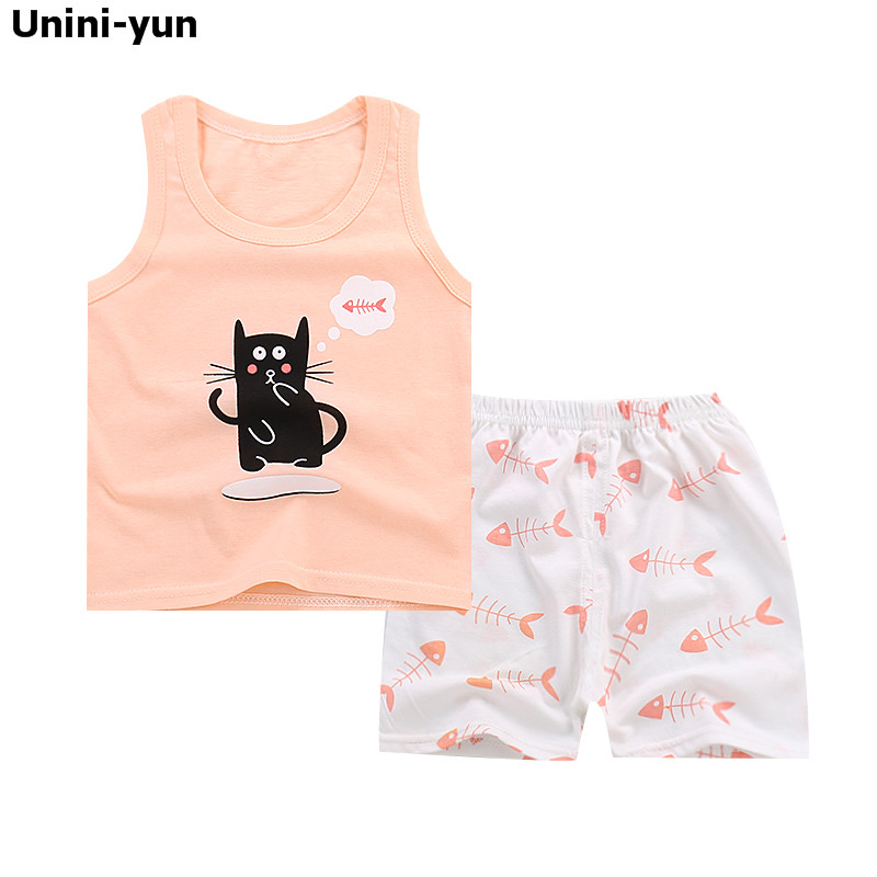 Honey Summer Baby Girls Cartoon Sleeveless Vest Tops Cotton Pants Casual 2pcs Suits Infant Clothing Kids Sets Roupas De Bebe Excellent Quality Girls' Baby Clothing