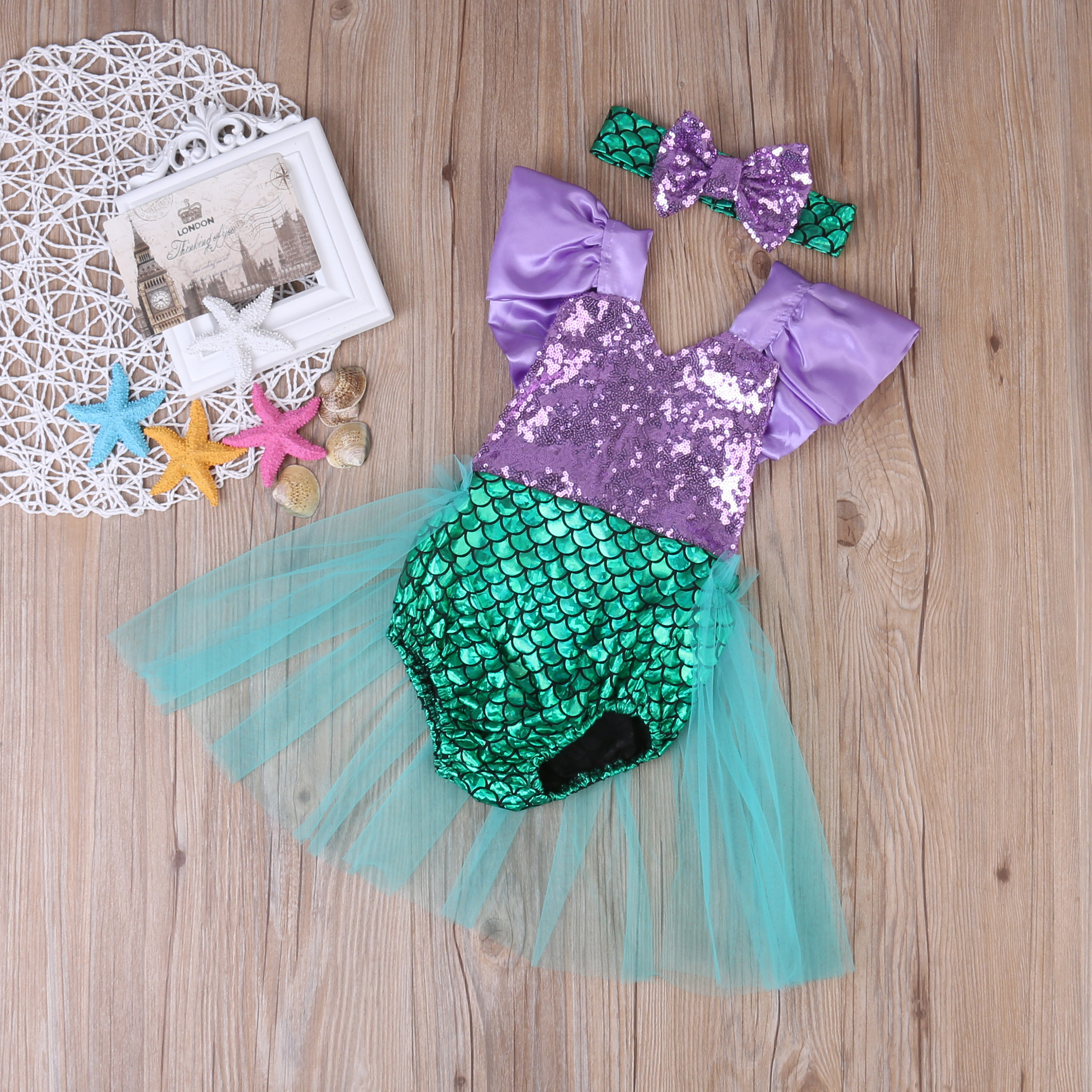 2017 Sequins Mermaid Newborn Baby Girl Summer Tutu Skirted Romper Bodysuit Jumpsuit +Headband 2PCS Outfits Kids Clothing Set  недорого