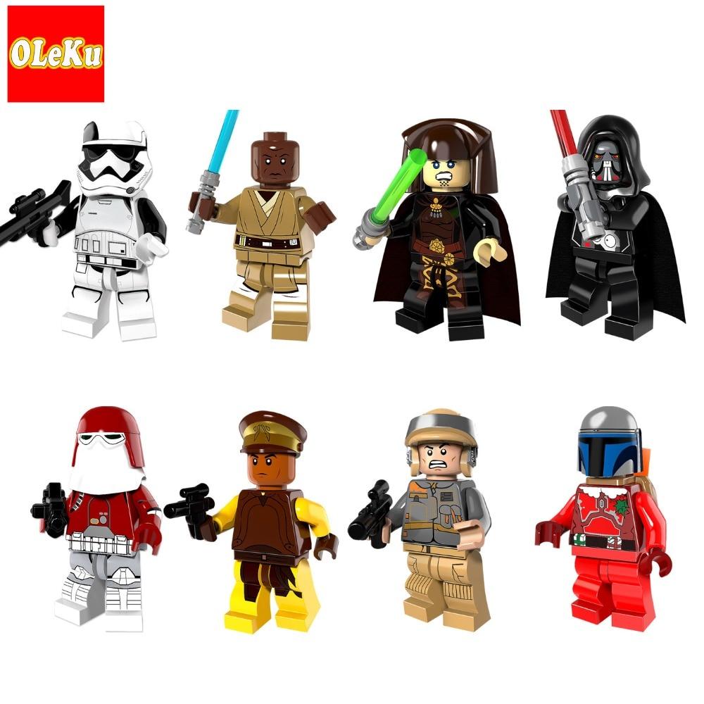 Star Wars Mace Windu Luminara Executioner Clone Trooper Darth Malgus Vader Jango Fett Building Blocks Toys starwars figures 2018 movie star wars clone trooper darth