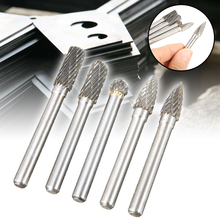 5pcs Tungsten Carbide Rotary Burrs Grinding Head File Cutter 8mm Point Die Grinder 6mm Shank Bit Tool Set