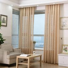 Льняные отвесные шторы для окна, сплошной цвет, тюль, готовые прозрачные, фиолетовые, синие, бежевые, розовые, коричневые, белые