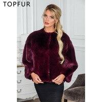 TOPFUR новый стиль Зимний натуральный мех пальто Модные женские роскошные кролика рекс теплое пальто Ветер Красный цвет Короткая Меховая курт