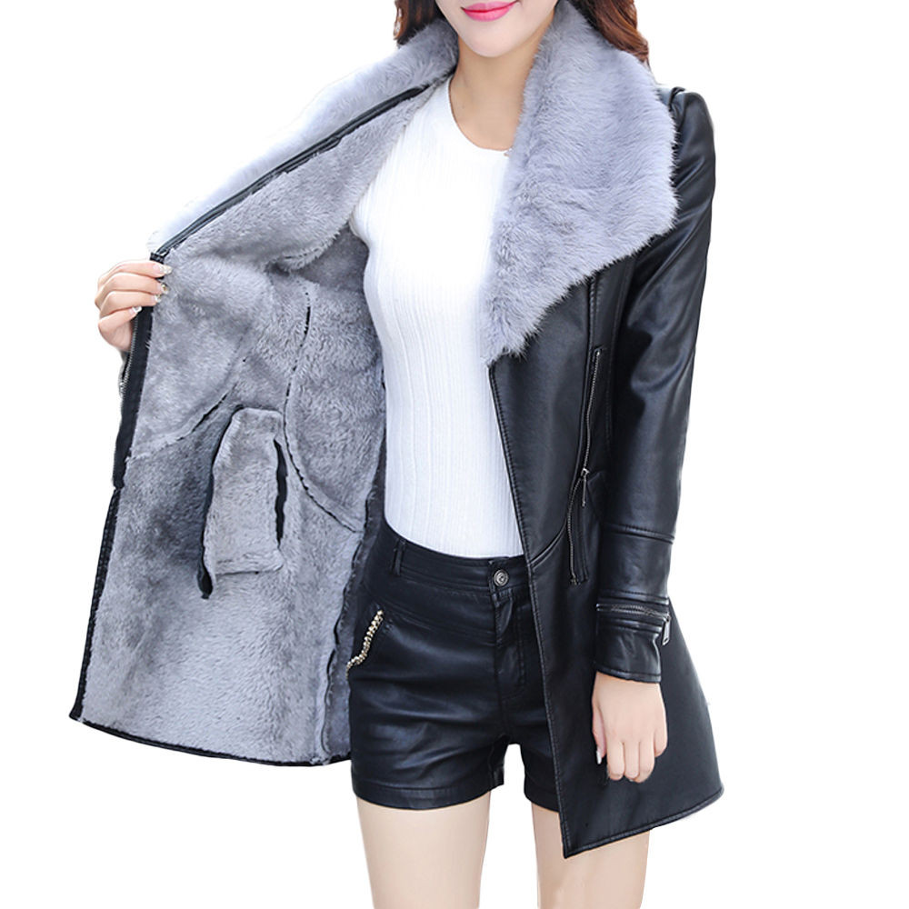 Free Ostrich Pu Leather Jacket Slim Clothing Zipper Black Long Ladies 2018 Winter Faux Fur Collar Women's Jackets Coats D40