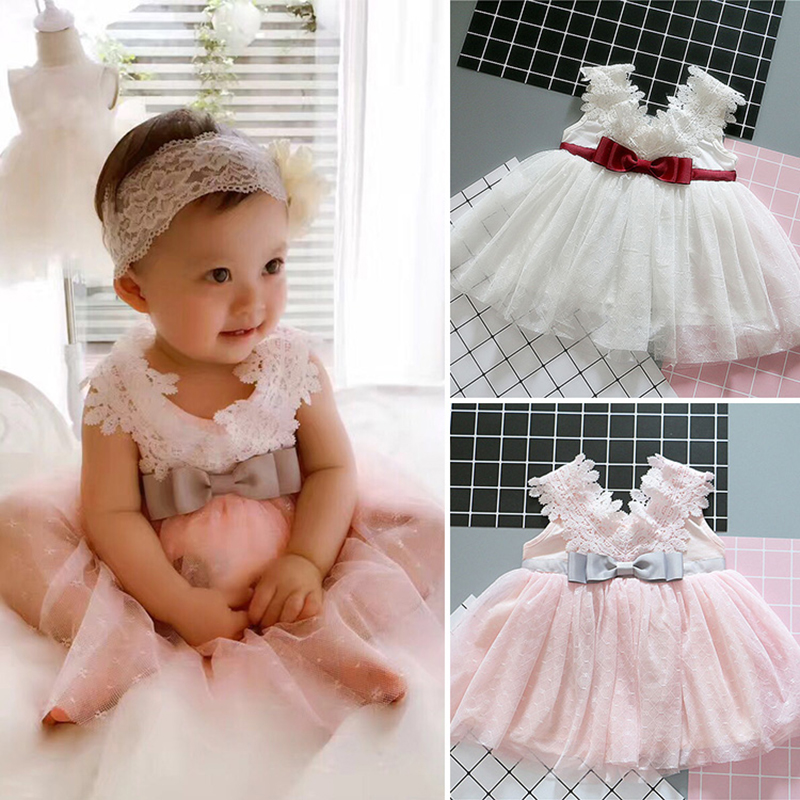 2018 Baby Girl Dress Infant Cotton Lace Party Clothing For Toddler Girl Birthday Baptism Clothes 0-2 year birthday Casual dress