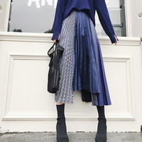 2018 Spring Korea New Fashion Women Patchwork Striped Pleated Skirts Female Loose Irregular Mid Calf Skirts