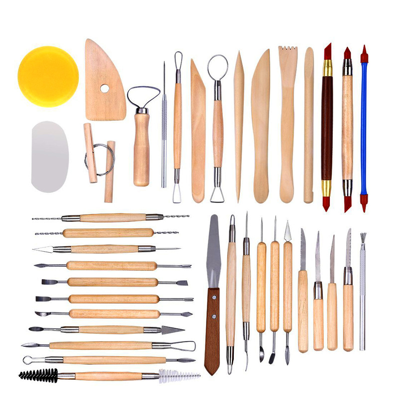 38 -51 pieces pottery clay sculpture tool indentation silicone pen Sculpture knife set multifunctional combination 30pcs pottery tools sculpting carving cinzel knife tool set includes clay color shapers modeling tools wooden sculpture knife