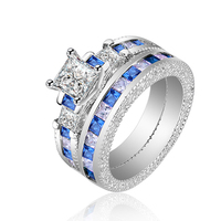 Gorgeous Blue Sapphire Crystal Ring Set Promise Engagement Rings For Women Fashion Couple Ring White Gold