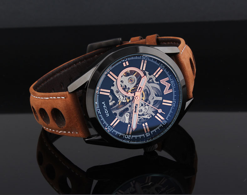 Fashion Brand Designer Men Skeleton Automatic Watches Self Winding Casual Wrist watch Leather Full Steel Relojes