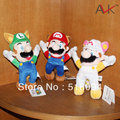 "3pcs/lot Free Shipping Super Mario Bros Raccoon Tanooki Mario Kitsune Fox Luigi White Racoon Fire Mario Plush Toy 8""20CM SMPD165"