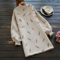 Pena bordado vestido de gola alta feminina outono inverno