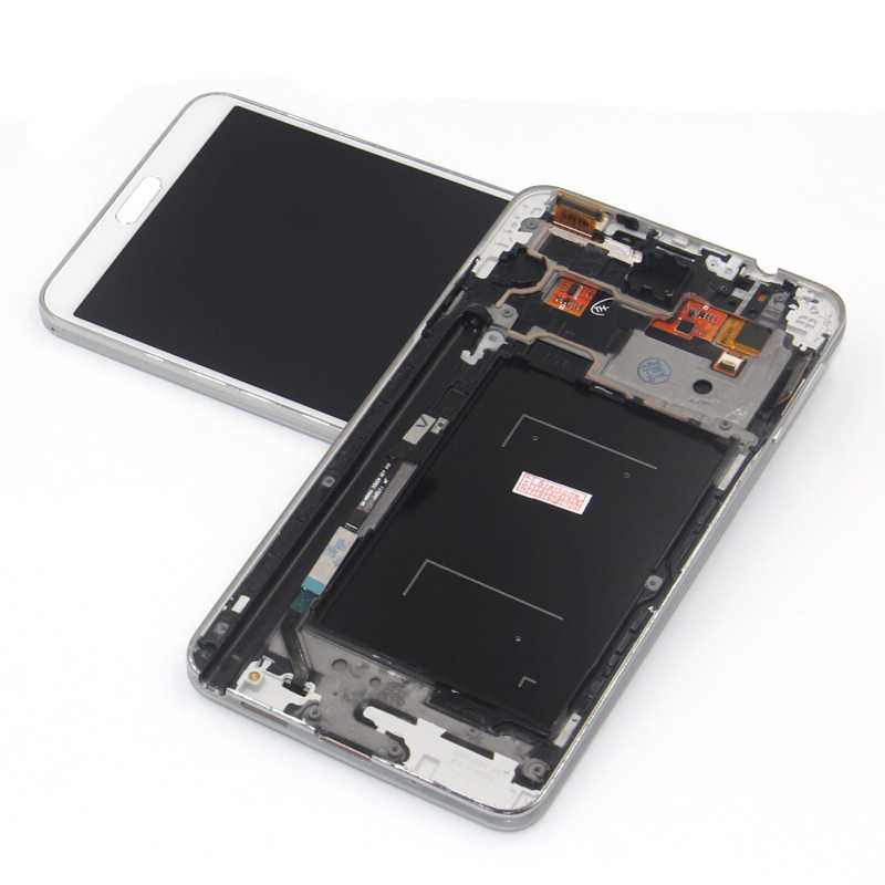 N9005 عرض مع الإطار مدي شاشات lcd لسامسونج غالاكسي Note3 ملاحظة 3 N9005 شاشة الكريستال السائل مجموعة المحولات الرقمية لشاشة تعمل بلمس استبدال