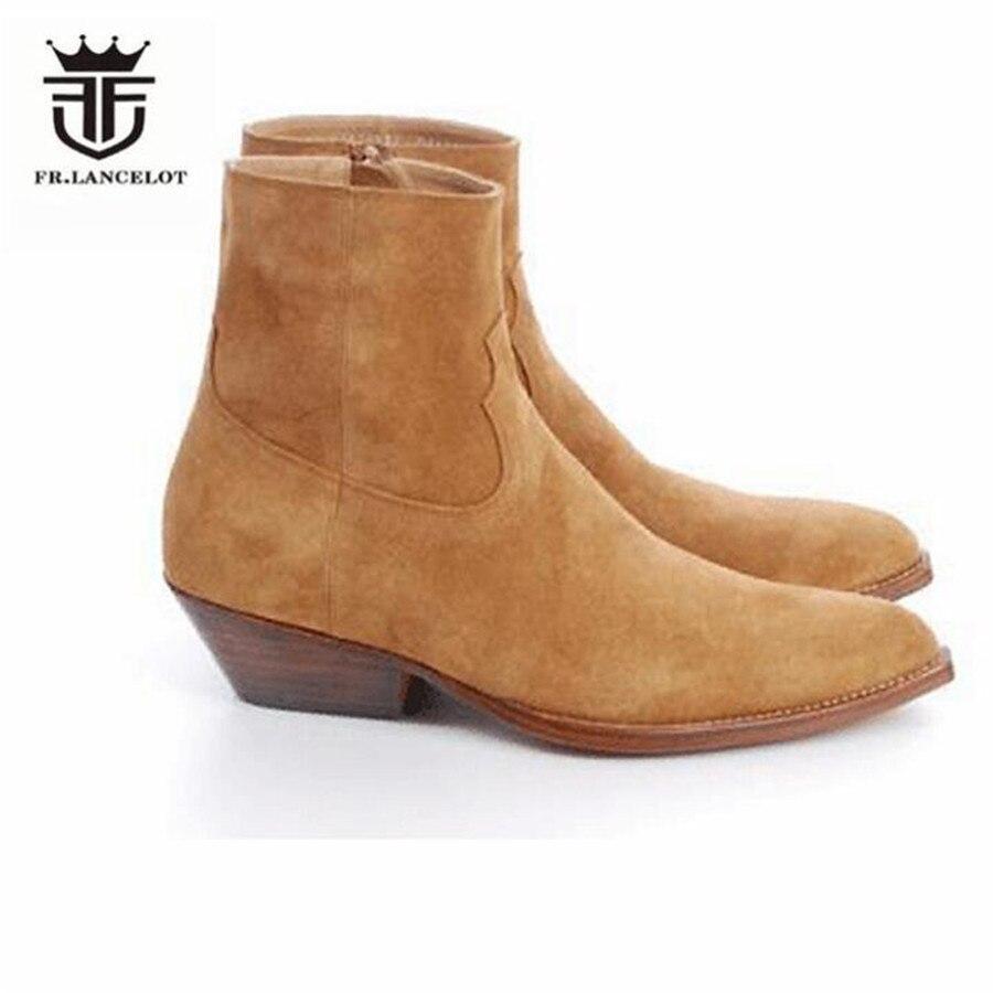 개인화 된 독점적 인 웨지 지적 된 judgur 발목 정품 가죽 카우보이 부츠 락 펑크 catwalk 데님 부츠-에서첼시 부츠부터 신발 의  그룹 1
