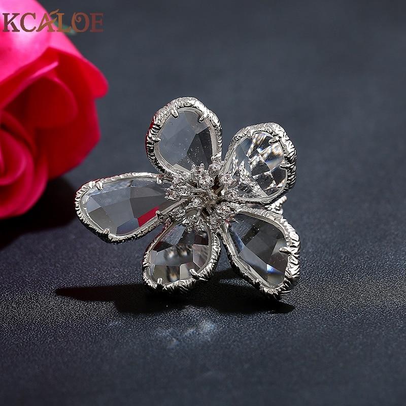 KCALOE Lyx Blå Transparent Crystal Stora Blommor Ringar För Kvinnor - Märkessmycken - Foto 5