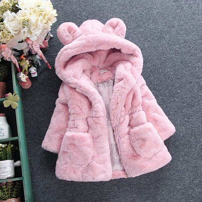 New Winter Baby Girls Clothes Faux Fur Coat Fleece Show Jacket Warm Snowsuit 1-7Y Baby Hooded Jacket Children's Outerwear