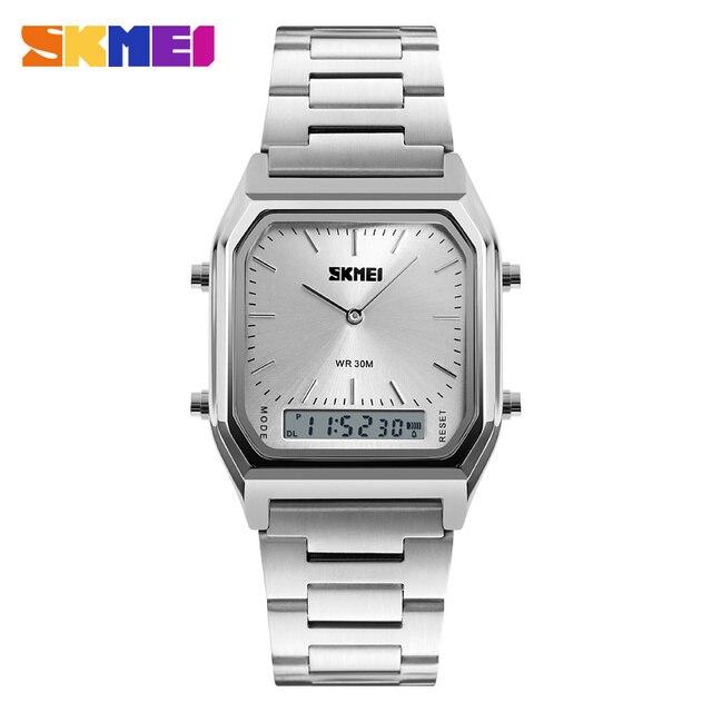 Skmei 1220 Hombres Moda Casual Reloj de Cuarzo de Doble Pantalla Digital EL Luz de Alarma Cronógrafo de Pulsera Relogio masculino