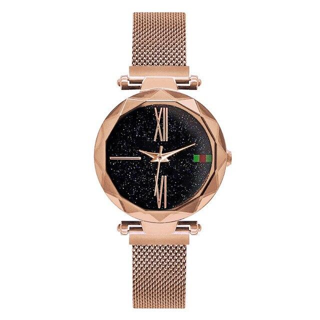 Luxury Ladies Starry Sky Watch Rose Gold Women Bracelet Watches Magnetic Bukle Mesh Fashion Casual Female Waterproof Clock Reloj 1