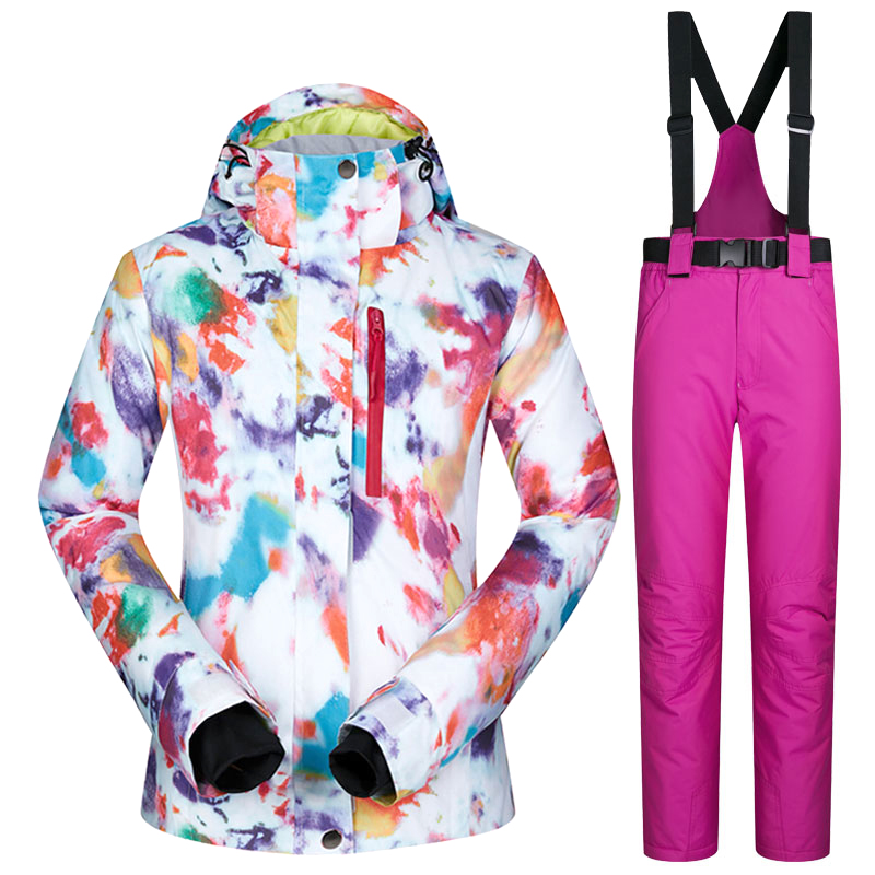 Women Ski Suits Brands Waterproof Breathable Warm Ski Jacket and Pants Winter Skiing and Snowboarding Suits