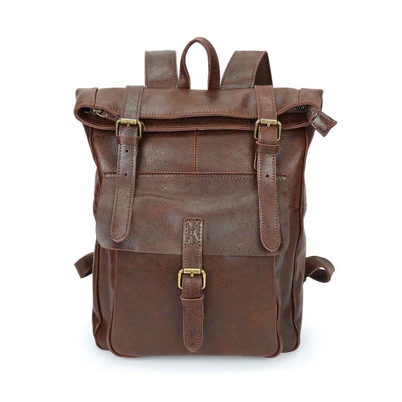 Männer Großen Rucksack Schule Mann frauen Casual dark Vintage Hohe Umhängetaschen Brown Rucksäcke Leder Echtes Reise Brown Qualität UvqxWEw1S