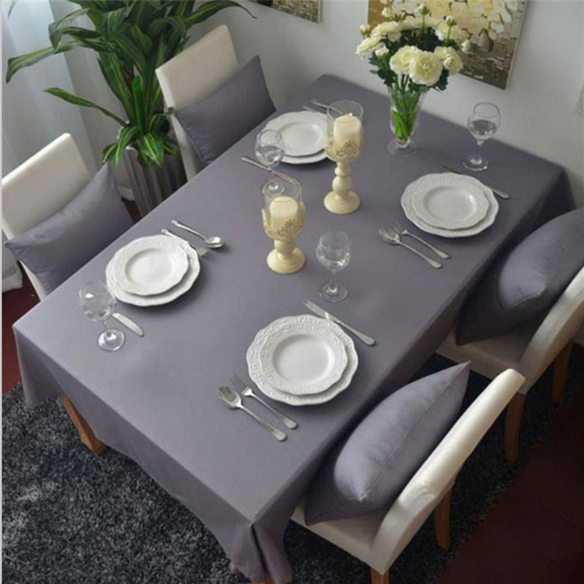 New Europe Style Grey Table Cloth Dustproof Rectangular Tablecloths For Kitchen Wedding Home Use Free Shipping