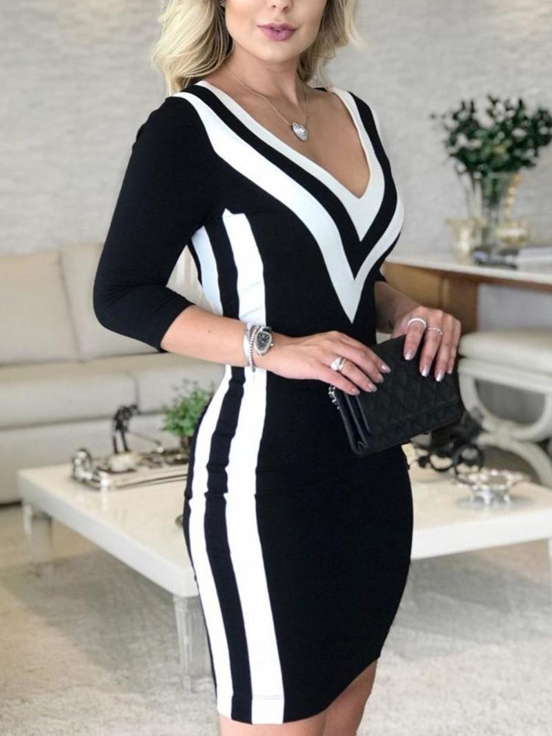 Женское облегающее платье в черно-белую полоску, с глубоким v-образным вырезом, большие размеры, весна 2019