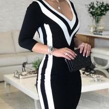 2019 Spring Dress Women Deep V Neck Big Size Vestidos De Festa Sexy Party Black
