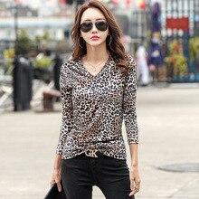 shintimes Long Sleeve Korean Style Women Tshirt Vintage T Shirt Leopard T-Shirt Female Woman Clothes 2019 Cotton Tee Femme
