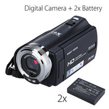 цена на ORDRO HDV-V12 3.0 LCD 1080P FHD Digital Camera Camcorder 16x Zoom DVR IR Night Vision CMOS Sensor Microphone+2pcs Battery