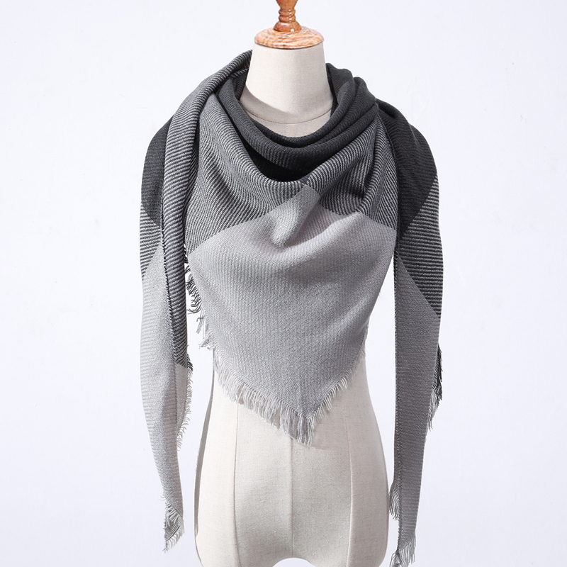 2019 New Spring Women's Triquetrous   Scarf   Plaid Warm Cashmere Triangle   Scarves   Female Shawls and Pashmina Lady Bandana   Wraps