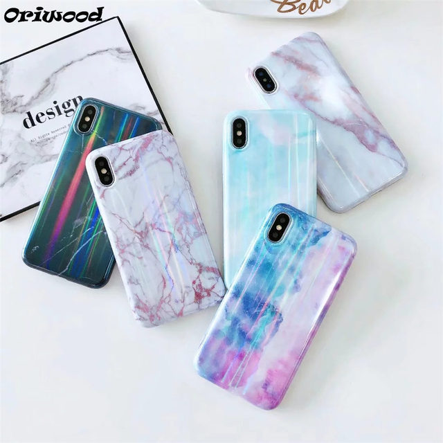 Retro Rainbow Glitter Candy Color Marble Phone Case For iphone 6 6S 7 8  Plus X Soft IMD Silicone Mobile Phone Back Cover Coque c0b6a3413362