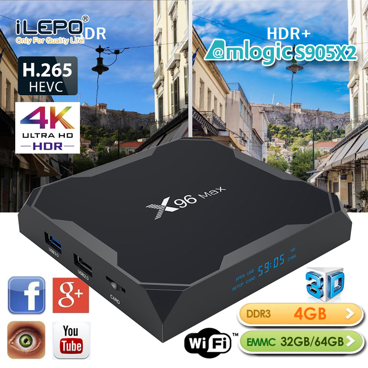 iLEPO X96 MAX Android 8 1 TV Box Amlogic S905X2 4GB 32GB 64GB with 2 4 5G WiFi 1000M LAN Bluetooth better than H96 MAX Plus in Set top Boxes from Consumer Electronics