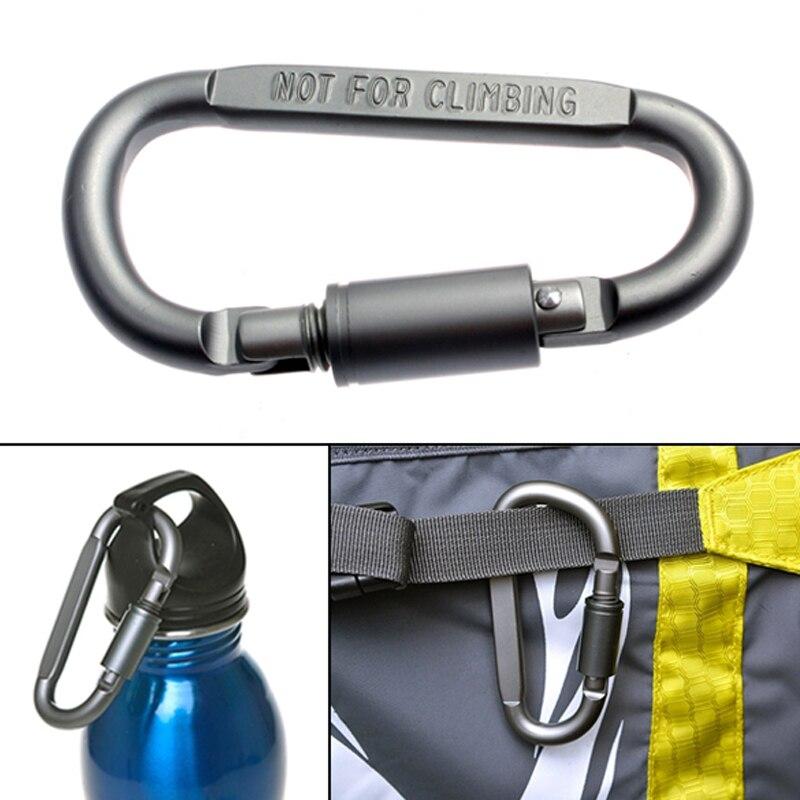 D-Shaped Aluminum Alloy Carabiner Screw Lock Hook Clip Key Ring Outdoor Camping Climbing Tools