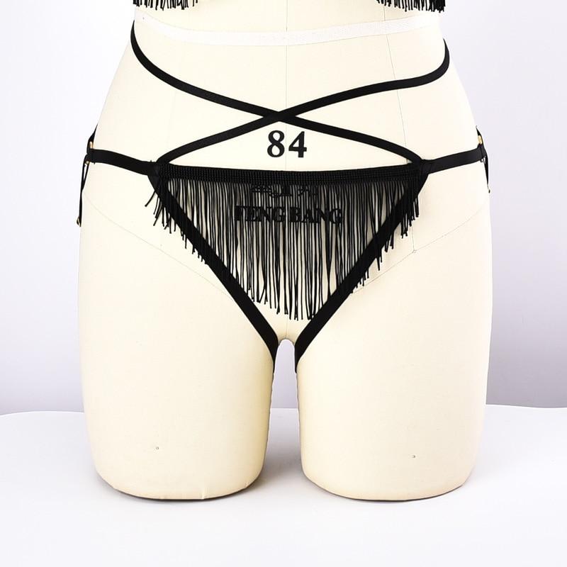 Комплект нижнего белья, комплект из двух предметов, регулируемый бюстгальтер на бретельках, трусики с бахромой, бюстгальтер с поясом - Цвет: L-L0059