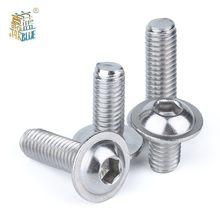 20 pces m3 m4 m5 m6 304 parafusos de cabeça do botão do soquete do hexágono de aço inoxidável com parafusos de cabeça do parafuso do colar com parafuso do colar