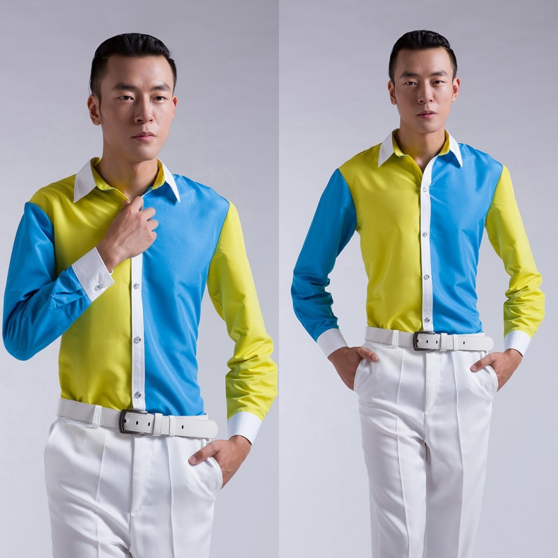 Men 39 s yellow and blue color gradient color long sleeved for Blue and yellow dress shirt