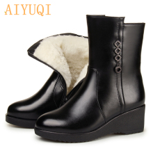 AIYUQI  Female Mother Boots Non-slip Wedge 2019 New Genuine Leather Snow Thick Wool Warm Winter Shoes