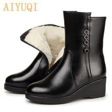 Aiyuqi feminino mãe botas não deslizamento cunha 2020 novo couro genuíno feminino botas de neve grossas lã quente botas de inverno feminino sapatos
