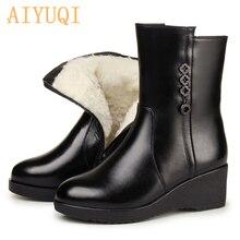 ¡Novedad de 2020! Botas antideslizantes para mujer de AIYUQI, botas de nieve de piel auténtica para mujer, botas de invierno cálidas de lana gruesa para mujer