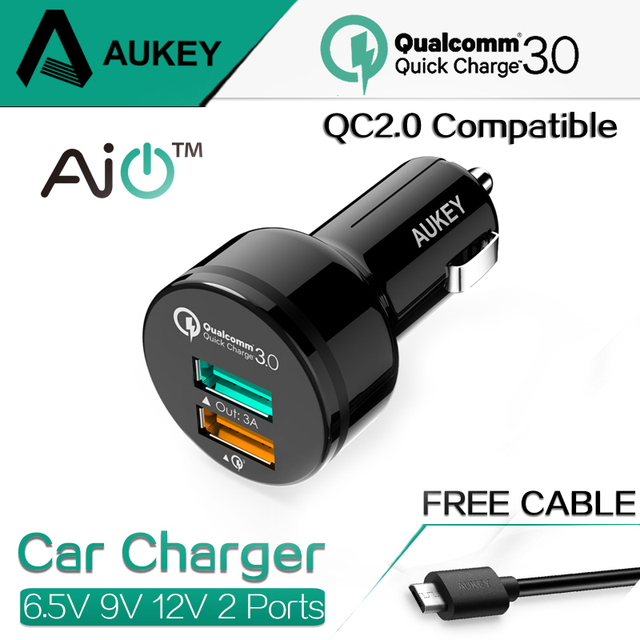 AUKEY 2 Ports Mini USB Qualcomm Quick Charger QC 3.0 Car Charger 9V 12V for iPhone 6s iPad Samsung HTC Xiaomi QC2.0 Compatible